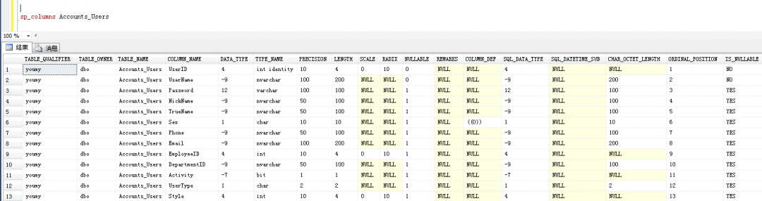 SQL Server里查询表结构命令-2